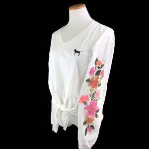 Victorias Secret PINK Floral Tie Up T Shirt Med